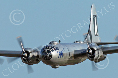 WB - B-29 00002B An in-flight gear up World War II era US Army Air Force Boeing B-29 Superfortress warbird, Fifi, airplane picture, by Peter J Mancus