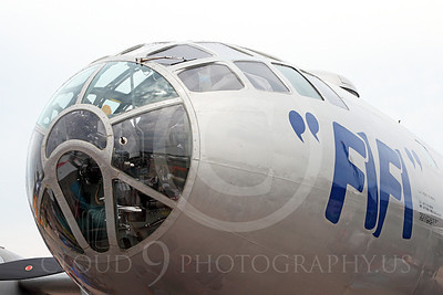 WB - B-29 00017 Close up of the glass nose of Fifi, a World War II era US Army Air Force Boeing B-29 Superfortress warbird, by Peter J Mancus