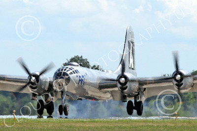 WB - B-29 00009B Fifi, a World War II era US Army Air Force Boeing B-29 Superfortress warbird, seen landing at the Oshkosh 2011 airshow, airplane picture, by Peter J Mancus
