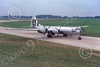 WB - B-29 00001 A taxing Boeing B-29 Super Fortress warbird FiFi 8-1981 military airplane picture by Ronald McNeil