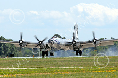 WB - B-29 00009A Fifi, a World War II era US Army Air Force Boeing B-29 Superfortress warbird, seen landing at the Oshkosh 2011 airshow, airplane picture, by Peter J Mancus