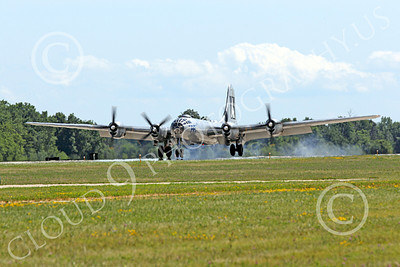 WB - B-29 00009 Fifi, a World War II era US Army Air Force Boeing B-29 Superfortress warbird, seen landing at the Oshkosh 2011 airshow, airplane picture, by Peter J Mancus