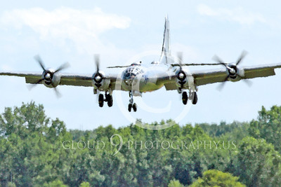 WB - B-29 00012A Fifi, a World War II era US Army Air Force Boeing B-29 Superfortress warbird on final approach at the Oshkosh 2011 airshow, by Peter J Mancus
