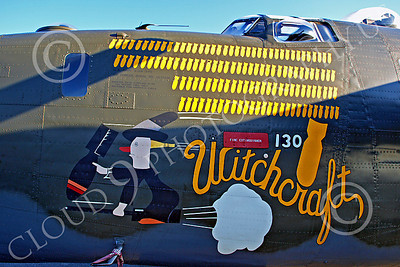 WB - Consolidated B-24 Liberator 00011 Nose art on Consolidated B-24 Liberator WITCHCRAFT, by John G Lomba