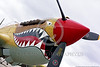SM-P-40 015 A static sharkmouth Curtiss P-40 Warhawk American World War II era fighter warbird at Chino Planes of Fame 2016 airshow warbird picture by Peter J  Mancus
