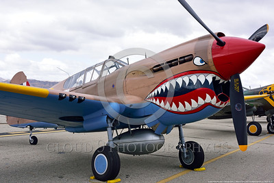 SM-P-40 013 A static British RAF color scheme sharkmouth Curtiss P-40 Warhawk American World War II era fighter warbird at Chino Planes of Fame 2016 airshow warbird picture by Peter J  Mancus