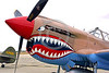 SM-P-40 014 A static British RAF color scheme sharkmouth Curtiss P-40 Warhawk American designed World War II era fighter warbird at Chino Planes of Fame 2016 airshow warbird picture by Peter J  Mancus tif