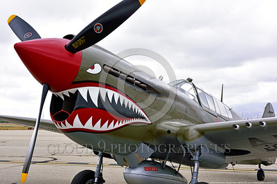 SM-P-40 001 A static olive drab color scheme sharkmouth Curtiss P-40 Warhawk American World War II era fighter warbird at Chino Planes of Fame 2016 airshow warbird picture by Peter J  Mancus