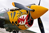 SM-P-40 011 A static tiger head color scheme sharkmouth Curtiss P-40 Warhawk American World War II era fighter warbird at Chino Planes of Fame 2016 airshow warbird picture by Peter J  Mancus