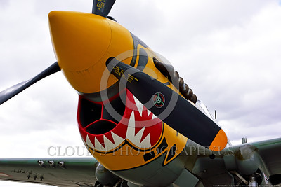SM-P-40 010 A static tiger head color scheme sharkmouth Curtiss P-40 Warhawk American World War II era fighter warbird at Chino Planes of Fame 2016 airshow warbird picture by Peter J  Mancus