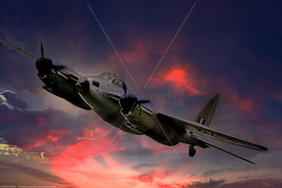 WB - de Havilland Mosquito 019 A riveting, dynamic, colorful picture of a de Havilland Mosquito, British RAF WWII era fighter, flying in a stormy sky at sunset, 7-1976, warbird picture by Stephen W  D  Wolf   CCC_4204  Dt