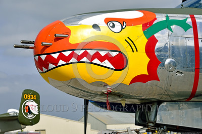 SM-A-26 011 A close up of the colorful nose of a sharkmouth Douglas A-26 Invader warbird picture by Peter J  Mancus