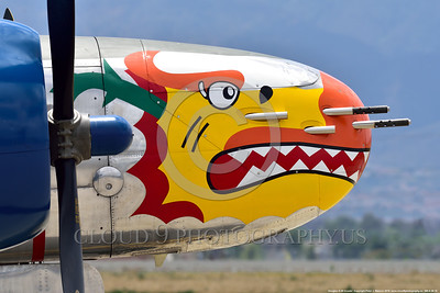 SM-A-26 015 A close up of the colorful nose of a sharkmouth Douglas A-26 Invader warbird picture by Peter J  Mancus