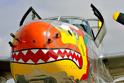 SM-A-26 006 A close up of the colorful nose of a sharkmouth Douglas A-26 Invader warbird picture by Peter J  Mancus