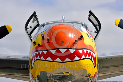 SM-A-26 005 A close up of the colorful nose of a sharkmouth Douglas A-26 Invader warbird picture by Peter J  Mancus