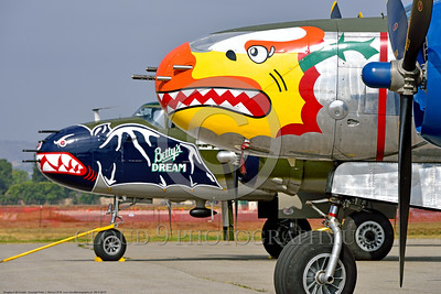 SM-A-26 007 A close up of the colorful nose of a sharkmouth Douglas A-26 Invader warbird picture by Peter J  Mancus