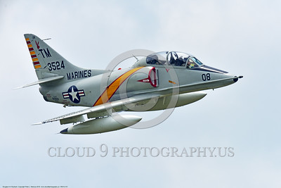 WB-A-4 0001 A flying Douglas TA-4F Skyhawk US Cold War era sub-sonic attack jet trainer in USMC markings warbird at Thunder Over Michigan 2016 airshow warbird picture by Peter J  Mancus