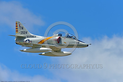 WB-A-4 0027 A flying Douglas TA-4F Skyhawk US Cold War era sub-sonic attack jet trainer in USMC markings warbird at Thunder Over Michigan 2016 airshow warbird picture by Peter J  Mancus