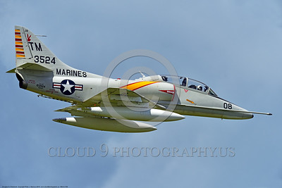 WB-A-4 0009 A flying Douglas TA-4F Skyhawk US Cold War era sub-sonic attack jet trainer in USMC markings warbird at Thunder Over Michigan 2016 airshow warbird picture by Peter J  Mancus