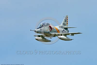 WB-A-4 0025 A flying Douglas TA-4F Skyhawk US Cold War era sub-sonic attack jet trainer in USMC markings warbird at Thunder Over Michigan 2016 airshow warbird picture by Peter J  Mancus