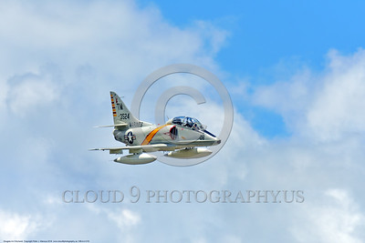 WB-A-4 0019 A flying Douglas TA-4F Skyhawk US Cold War era sub-sonic attack jet trainer in USMC markings warbird at Thunder Over Michigan 2016 airshow warbird picture by Peter J  Mancus