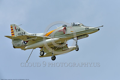 WB-A-4 0021 A landing Douglas TA-4F Skyhawk US Cold War era sub-sonic attack jet trainer in USMC markings warbird at Thunder Over Michigan 2016 airshow warbird picture by Peter J  Mancus