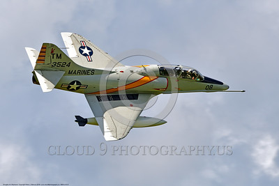 WB-A-4 0013 A flying Douglas TA-4F Skyhawk US Cold War era sub-sonic attack jet trainer in USMC markings warbird at Thunder Over Michigan 2016 airshow warbird picture by Peter J  Mancus