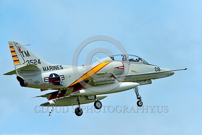 WB-A-4 0014 A landing Douglas TA-4F Skyhawk US Cold War era sub-sonic attack jet trainer in USMC markings warbird at Thunder Over Michigan 2016 airshow warbird picture by Peter J  Mancus