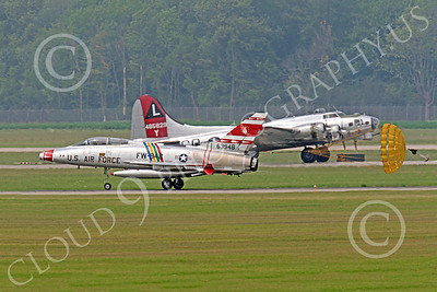WB - F-100 00013 Time warp--a Cold War era supersonic North American F-100F Super Sabre USAF jet fighter warbird rolls out in front of a World War II era Boeing B-17 bomber, by Peter J Mancus