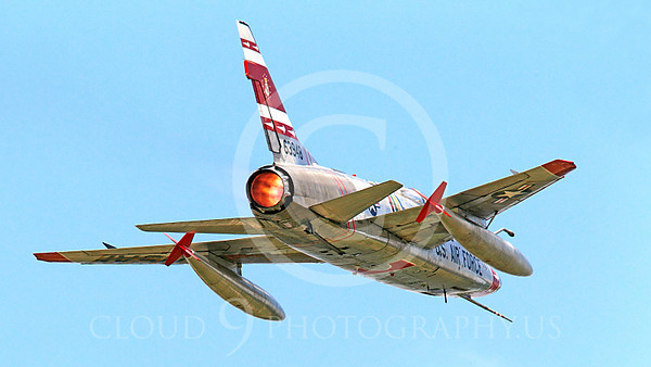 WB - F-100 00044 A North American F-100F Super Sabre USAF jet fighter FW-948 63948 warbird in full afterburner, by Peter J Mancus