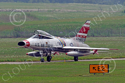 WB - F-100 00015 A North American F-100F Super Sabre USAF jet fighter, FW-948 63948, taxis back to the flightline, by Peter J Mancus
