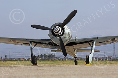 WB - Focke-Wulf Fw 190 00041 A frontal static view of a Focke-Wulf Fw 190 German WWII era fighter airplane picture, by Peter J Mancus