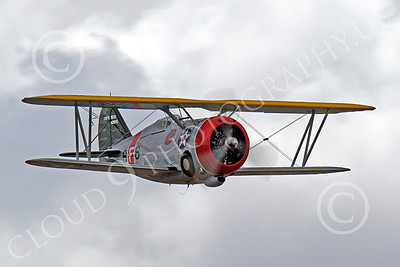 WB - Grumman F3F 00013 An excellent quarter front view of a flying Grumman F3F biplane fighter warbird, airplane picture, by Peter J Mancus