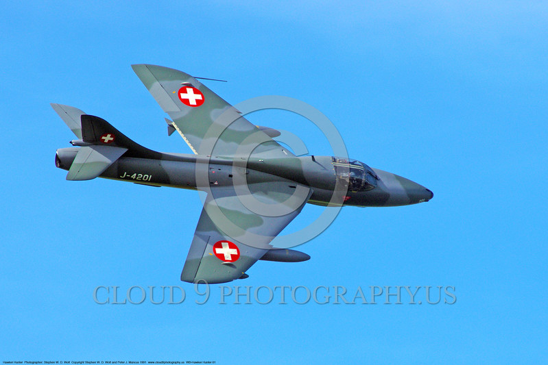 WB-Hawker Hunnter 00001 A Hawker Hunter jet fighter warbird in Swiss Air Force markings by Stephen W D Wolf