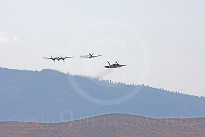 HF - 00094 Lockheed P-38 Lightning, North American P-51D Mustang, and Lockhee Martin F-22 Raptor by Peter J Mancus