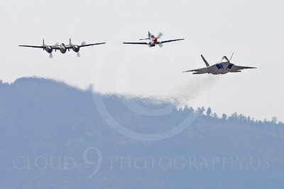 HF - 00112 Lockheed P-38 Lightning, North American P-51D Mustang, and Lockhee Martin F-22 Raptor by Peter J Mancus