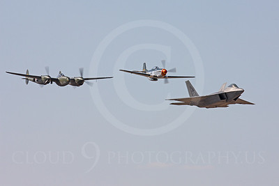 HF - 00062 Lockheed P-38 Lightning Glacier Girl, North American P-51D Mustang and Lockheed F-22 Raptor by Peter J Mancus