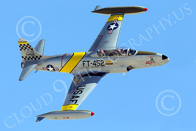 WB-T-33 00024 A flying Lockheed T-33 Shooting Star USAF jet trainer, ACE MAKER II, banks right, warbird picture by Peter J Mancus