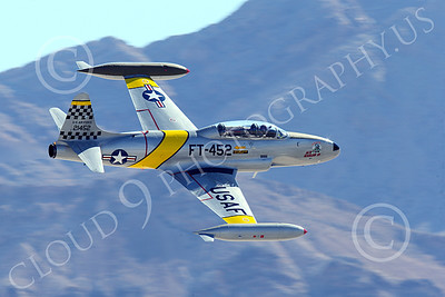WB-T-33 00016 A flying Lockheed T-33 Shooting Star USAF jet trainer, ACE MAKER II, makes a low high speed pass, warbird picture by Peter J Mancus