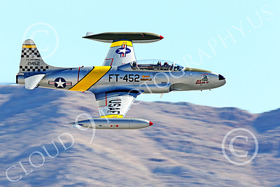 WB-T-33 00012 A flying Lockheed T-33 Shooting Star USAF jet trainer, ACE MAKER II, makes a low high speed pass, warbird picture by Peter J Mancus