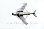 WB-MiG-17 00025 Top view of a banking flying Mikoyan-Guryevich MiG-17 Fresco Soviet Cold War era supersonic jet fighter warbird at Thunder Over Michigan 2016 airshow warbird picture by Peter ...