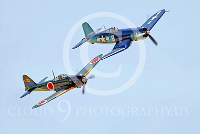 WB - Mitsubishi A6M Zero 00018 Mitsubishi A6M Zero Japanese World War II fighter with Vought F4U Corsair US Navy World War II fighter by Peter J Mancus