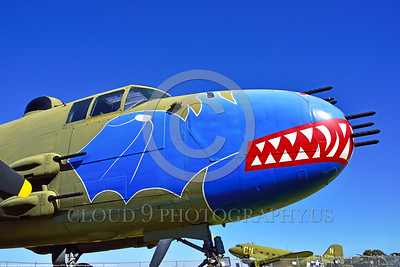 SM-B-25 007 A colorful and different sharkmouth style on a North American B-25 Mitchell US WWII era medium bomber warbird picture by Peter J  Mancus