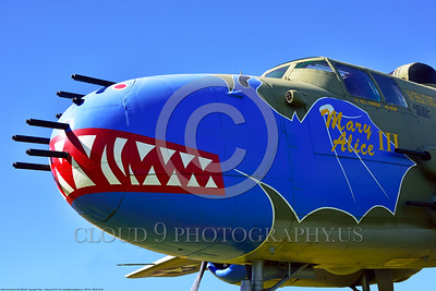 "SM-B-25 009 A colorful and different sharkmouth style on a North American B-25 Mitchell named ""MARY ALICE III"" US WWII era medium bomber warbird picture by Peter J  Mancus"