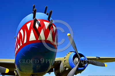 SM-B-25 006 A front view of a colorful and different sharkmouth style on a North American B-25 Mitchell US WWII era medium bomber warbird picture by Peter J  Mancus