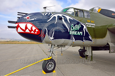 "SM-B-25 023 A close up of the colorful nose of a sharkmouth North American B-25 Mitchell ""BETTY'S DREAM"" World War II era warbird picture by Peter J  Mancus"