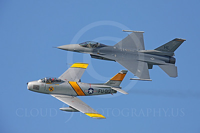 HF 00104 North American F-86 Sabre and Lockheed Martin F-16 Fighting Falcon by Peter J Mancus