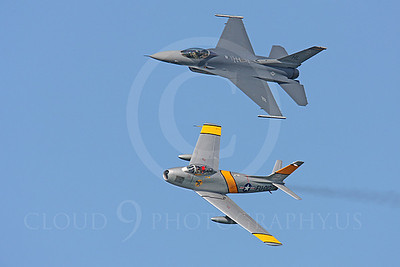 HF 00154 North American F-86 Sabre and Lockheed Martin F-16 Fighting Falcon by Peter J Mancus