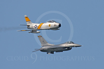 HF 00040 North American F-86 Sabre and Lockheed Martin F-16 Fighting Falcon by Peter J Mancus