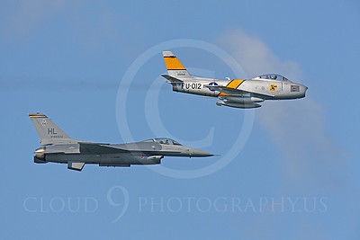 HF 00166 North American F-86 Sabre and Lockheed Martin F-16 Fighting Falcon by Peter J Mancus